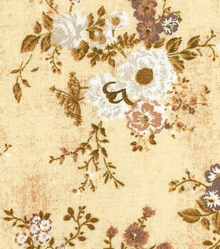 Premium Wide Cotton Fabric-White Floral with Vine Bouquet on Cream