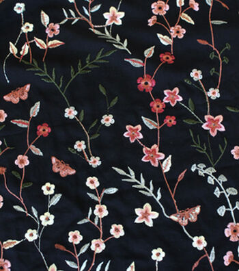 """Silky Rayon Fabric 56""""-Vine Floral"""