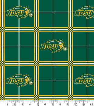 North Dakota State Bison Flannel Fabric-Plaid