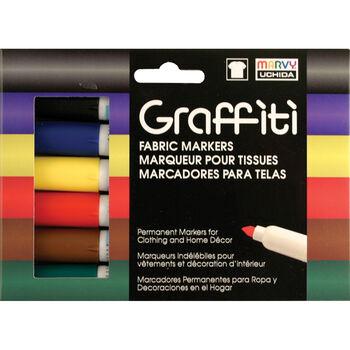 Graffiti Fabric Marker 6/Pkg Primary