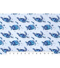Snuggle Flannel Fabric -Blue Sea Turtle