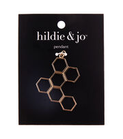 hildie & jo Copper & Iron Hexagon Pendant-Gold, , hi-res