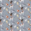Dogs and Dots Print Fabric