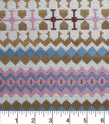 "Southwest Jacquard Fabric 54""-Metallic Pink and Blue"