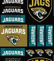 Jacksonville Jaguars Cotton Fabric -Logo Block, , hi-res