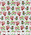 Snuggle Flannel Fabric-Festive Animals With Presents