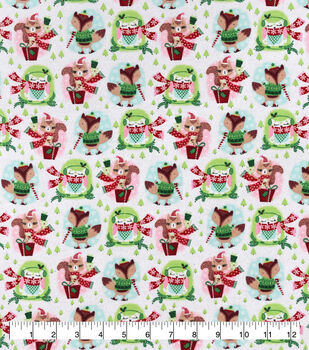 Christmas Snuggle Flannel Fabric-Festive Animals with Presents