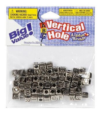 Darice 6mm Alpha Beads-85PK/Silver