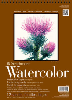 Strathmore 400 Series 12 Sheets 9''x12'' Watercolor Pad