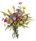 Daisies, Ranunculi & Morning Glories in Glass Vase 21\u0027\u0027
