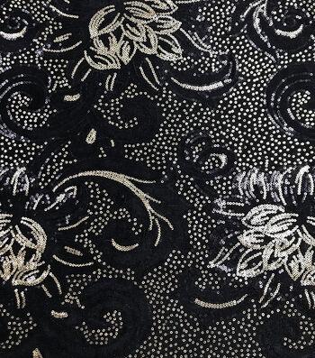 Casa Embellish Sequin Velvet Fabric 56''-Black & Gold