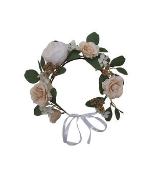 Blooming Autumn Mood Rose, Berry & Leaf Crown-Cream