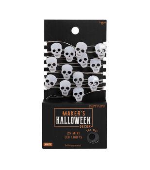 Maker's Halloween Decor 25 ct White Skull Mini LED Lights