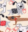 Blizzard Fleece Fabric -Black, Gray & Tan Dogs