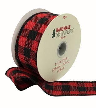 Handmade Holiday Christmas Ribbon 1.5''x30'-Red & Black Buffalo Checks