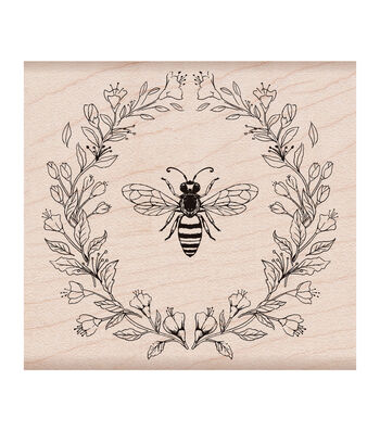 Hero Arts Wood Mounted Rubber Stamp-Antique Bee & Flowers