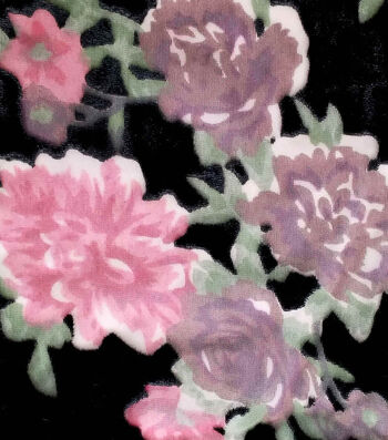 "Velvet Burnout Fabric 54""-Black Burgundy Boho Floral"