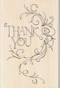 Inkadinkado Mounted Rubber Stamp 4\u0022X2.75\u0022-Thank You Flourish Frame
