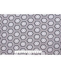 No-Sew Throw Fleece Fabric 72\u0022-Gray Black Hexagon