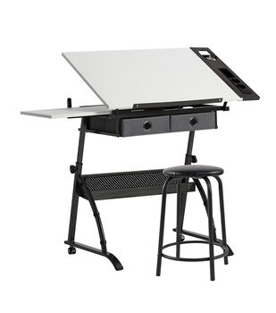 Studio Designs Core Craft Center Table & Stool-Gunmetal & White
