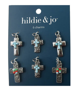 hildie & jo 6 Pack Cross Silver Charms-Blue, Green & Red Beads
