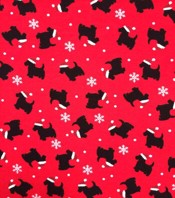 "Doodles Christmas Cotton Fabric 57""-Red & Black Santa Dogs"