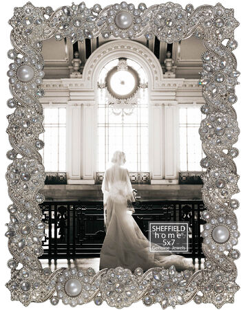 Sheffield Home Heavy Ornate Pearls & Jewels Tabletop Frame 5''x7''