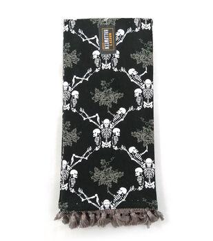Maker's Halloween Decor 16''x26'' Towel with Trim-Skeleton Damask