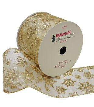 Handmade Holiday Christmas Ribbon 4''x40'-Gold Glitter Snowflakes