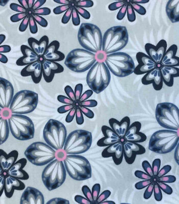 "Snuggle Flannel Fabric 42""-Pink Blue Flowers"