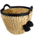 Hudson Finds Medium Woven Basket with Black Tassels
