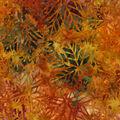 Indonesian Batik Cotton Fabric-Redwood Leaves