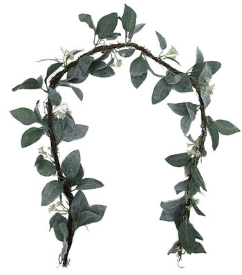 Blooming Holiday Christmas Flocked Leaves with White Berries Garland