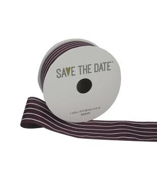 "Save the Date 1.5"" x 15ft Ribbon-Plum White Stripe"