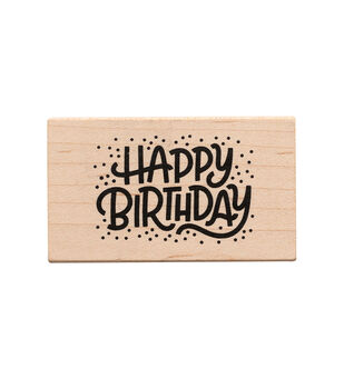 American Crafts Wooden Stamp Happy Bday