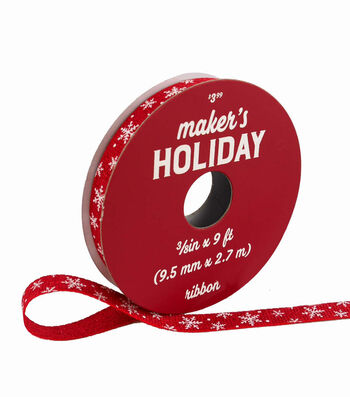 Maker's Holiday Woodland Lodge Ribbon 3/8''x9'-Snowflakes on Red