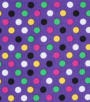 Mardi Gras Cotton Fabric-Multi Dots Purple