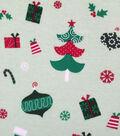 Doodles Christmas Interlock Cotton Fabric 57\u0022-Holiday Bulbs & Presents