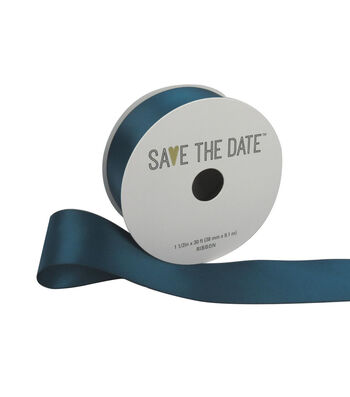 """Save the Date 1.5"""" x 30ft Ribbon-Teal Satin"""