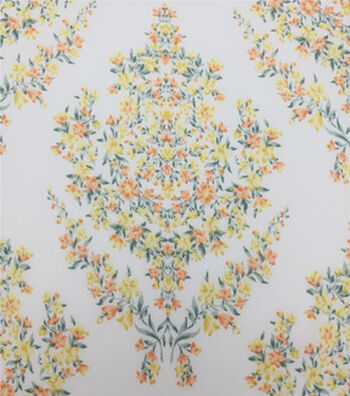 Stretch Chiffon Fabric 57''-Floral Wallpaper on Ivory