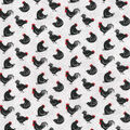 Novelty Cotton Fabric-Roosters On Gray