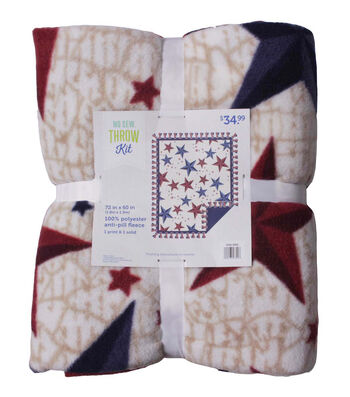 No Sew Fleece Throw-Navy Red Stars