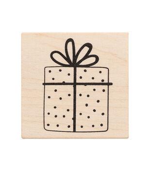 American Crafts Wooden Stamp Present