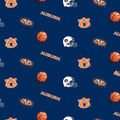 Auburn University Tigers Cotton Fabric -Blue All Over