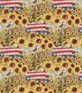 Patriotic Cotton Fabric-America My Heart My Home