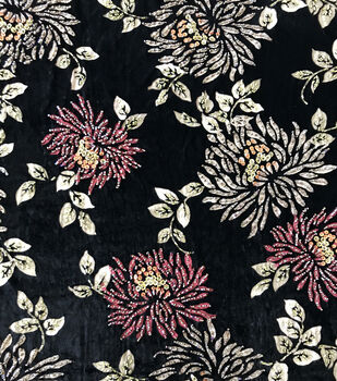 Casa Embellish Fall Velvet Burnout Fabric -Beaded Floral
