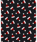 Christmas Cotton Fabric-Ditsy Santa Hats Black
