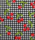 Novelty Cotton Fabric 43\u0027\u0027-Cherries on Gingham