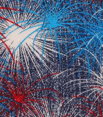 Patriotic Cotton Glitter Fabric 43''-Fireworks Burst