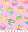 Glitter Flannel Fabric -Cupcakes on Pink